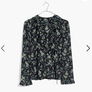 Madewell Silk Ruffle-Hem Wrap Top in Antique Flora